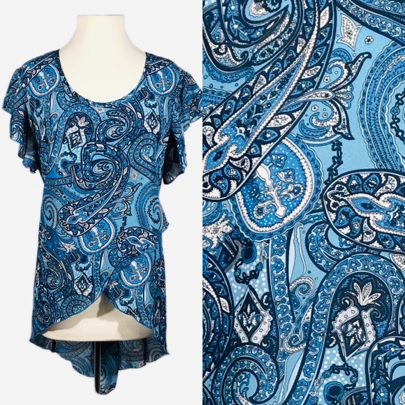 Ashley Stewart Tops - EUC Ashley Stewart Blue Paisley Layered Hi-Lo Top